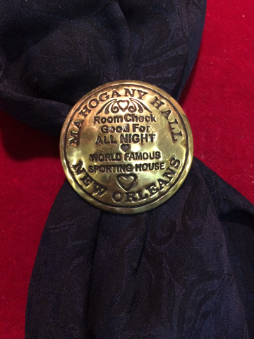 Scarf Slide: Brass token, Mahogany Hall, New Orleans
