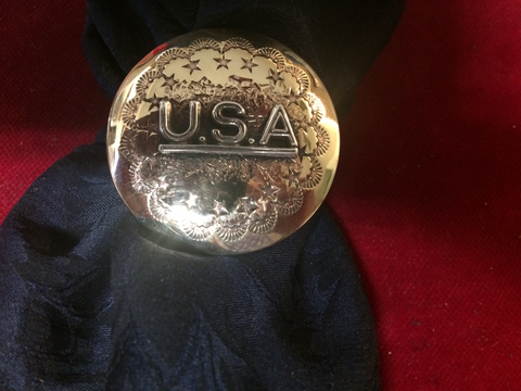 "Slide: Brass 1 1/2"" with star motif & Sterling U.S.A. overlay"