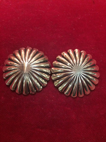 "Conchos: Pair of Brass Fluted at 1 5/8"" each."