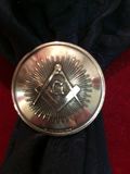 "Scarf Slide: Bronze Masonic token with Rays, 1 3/8"" diameter, from Detroit"