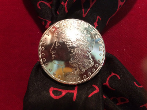 Scarf Slide: Real Coin 1889 Silver Dollar