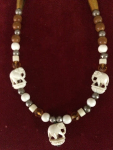 Necklace: Bone and bead with Elephants