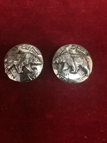 "Conchos: Pair of Sterling with Bear overlay, 1"" diameter"