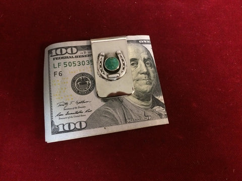 Money Clip: Sterling Horseshoe with Turquoise Stone