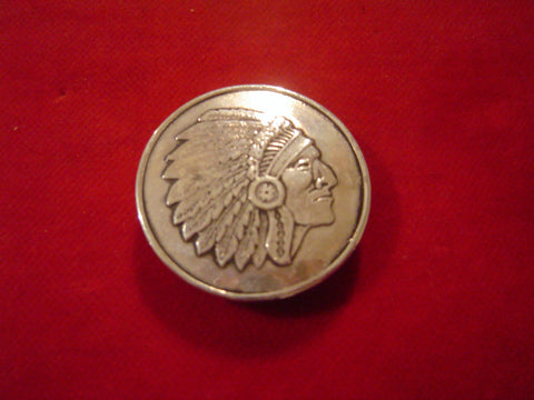 Round Indian Chief Sterling Pin