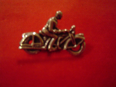 Vintage Motorcycle Rider Sterling Pin