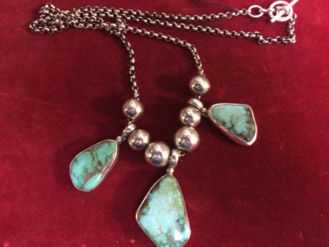 Necklace: 3 Stone Carico Lake Turquoise and Sterling