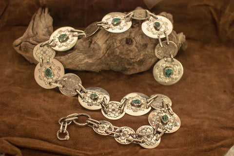 Sterling Concho Belt with Kingman, Arizona Turquoise