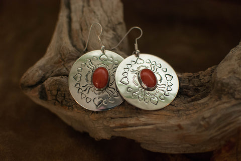 Blood Red Coral and Sterling Earrings