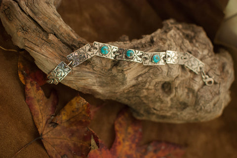 Sterling Link Braclet with 3 Darling Darlene Turquoise Stones