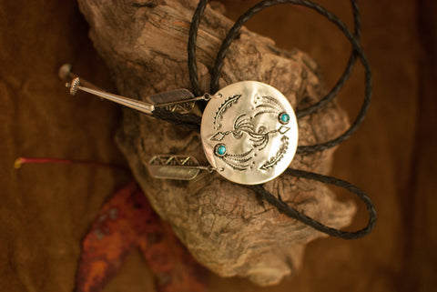 Sterling Bolo Tie with Turquoise and Sterling Feathers