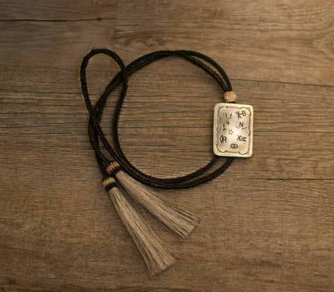 Sterling Rectangle Bolo Tie on Horsehair with stamped Brands
