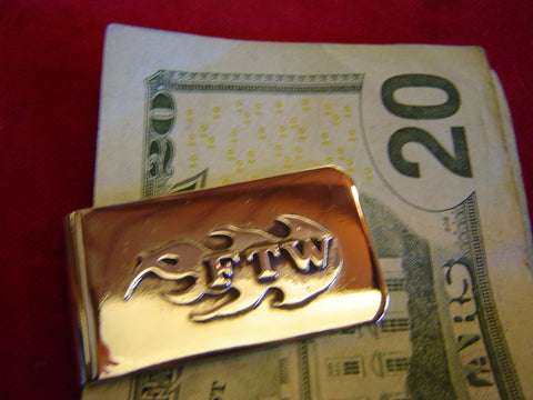 "Money Clip: Flamed Sterling ""FTW"" (Forever Two Wheels)"