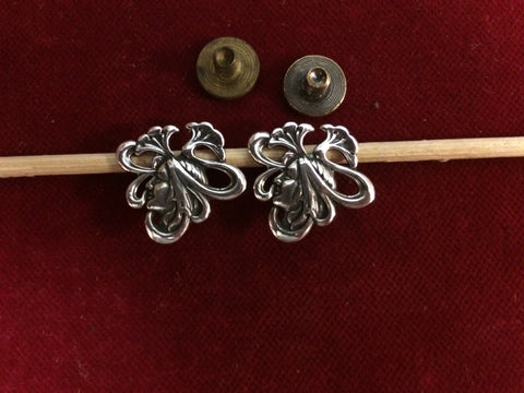 Conchos: Pair of Sterling Deco Girl with flush mount post and screw.