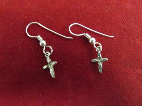 Earrings: Sterling Tiny Cross