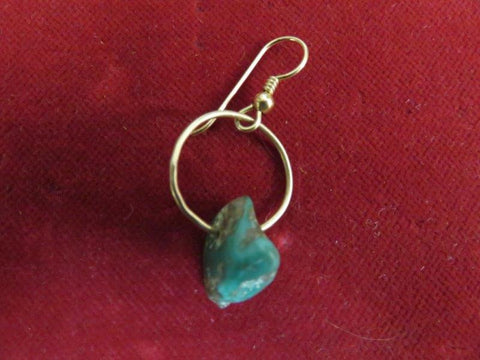Earring: 14 kt. Gold and Natural Turquoise Nugget