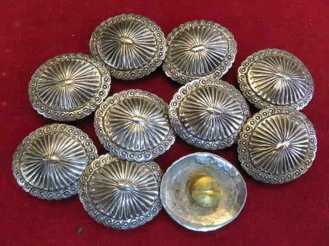 Conchos: Set of 10 Oval Sterling Scalloped and Fluted