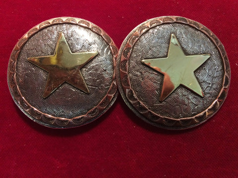 "Conchos: Pair of 2"" Sterling tri-metal with brass Star and Copper edge."