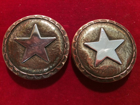 Conchos: Pair of Bridle Rosettes, Tri-Metal, Brass with Sterling Star and Copper edge