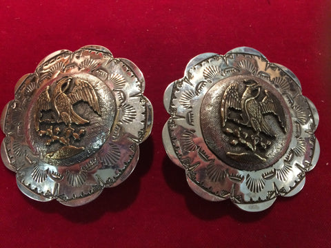 "Conchos: Pair of Bridle Rosettes, Sterling 3 1/4"", Vaquero motif"