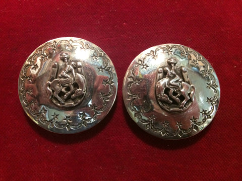 Conchos: Pair of Sterling right and left matching Horseshoe Buckaroo