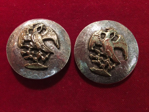 Conchos: Pair of Sterling with Brass Eagle & stippled background