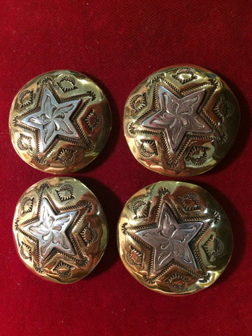 Conchos: Set of 4 Brass with Sterling Engraved Star