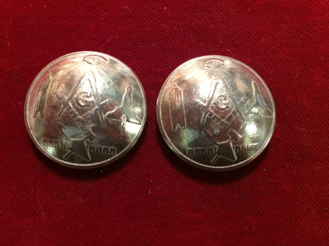 "Conchos: Pair of 1 1/8"" Cast Sterling Masonic"