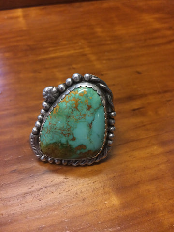 Ring: Large Battle Mt. Turquoise on heavy Sterling