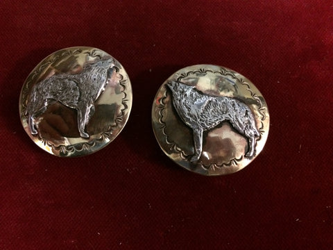 "Conchos: pair of Brass 1 3/4"" with Sterling Howling Wolf overlay"