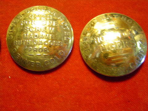 Conchos: Pair Brass Brothel Token # 1