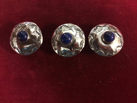 "Conchos: Set of 3 Sterling 1"" with Lapis stones."