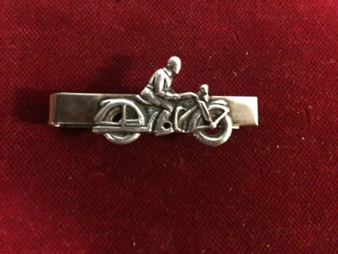 Tie Clip: Sterling Motorcycle Rider on Nickle clip