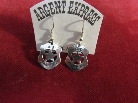 Earrings: Sterling U.S. Marshal Badges