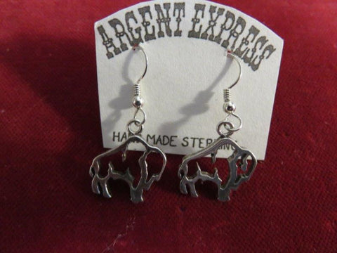 Earrings: Sterling Open Buffalo