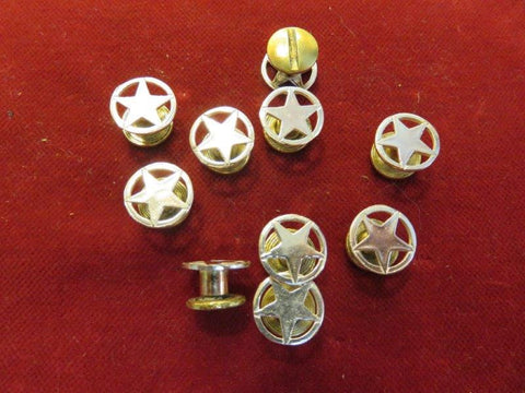 Conchos: 10 Flat Sterling cutout Stars, 1/2""