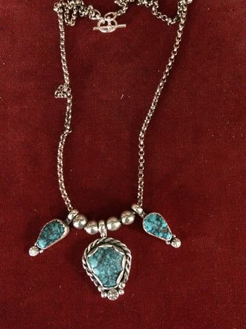 Necklace: Smokey Mt. Nevada Turquoise 3 Stone Sterling
