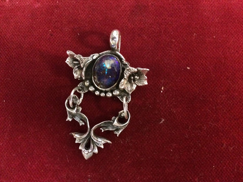 Pendent: Sterling Jelly Opal with Flowers and Dangle.