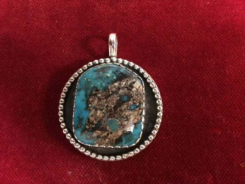Pendent: Sterling Old Cowboy Watch Fob with Morenci Turquoise