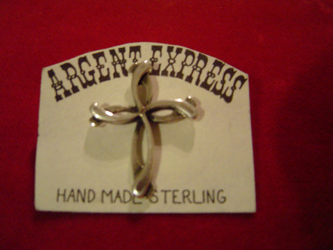 Twisted Cross Sterling Pin