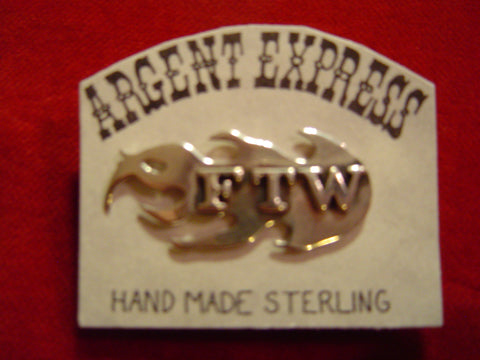 "Pin: Flamed Sterling ""FTW"" . (Forever Two Wheels)"
