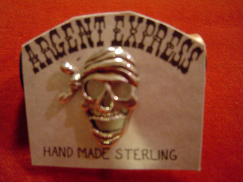 Pirate Skull Sterling Pin