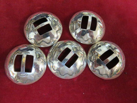 "Conchos: Set of 5, Sterling Slotted, 1 1/2""  High Dome"