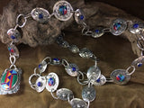 Concho Belt: Sterling and multi Stone Lapis and Matrix stones Link Belt