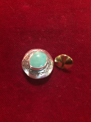 "Concho: Single Sterling 3/4"" with Turquoise, post and screw"