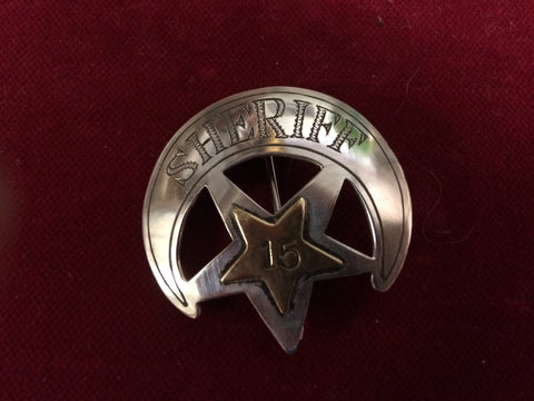 "Badge: Sterling ""Sheriff"" with #15 in Brass, crescent star"