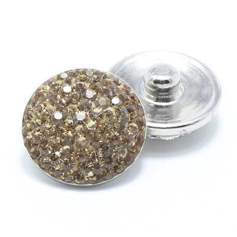Diva Dot Snap Button, Gold Crystals