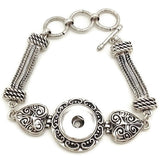 Snap Button Bracelet, BEST SELLER! Triple Stranded with Heart Embellishments