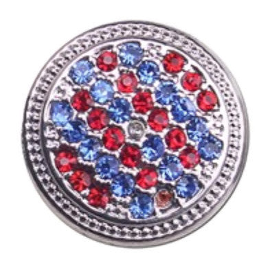 Diva Dot Snap Button, Red, White & Blue