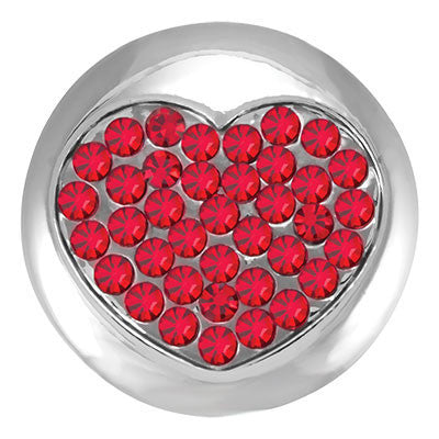 Diva Dot, Heart filled with Red Crystals